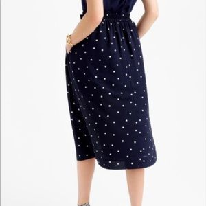 JCrew Navy and White Polka Dot Pleated Skirt